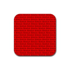 Maga Make America Great Again Usa Pattern Red Rubber Coaster (square)
