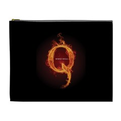 Qanon Letter Q Fire Effect Wwgowga Wwg1wga Cosmetic Bag (xl) by snek