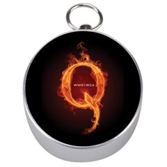 Qanon Letter Q Fire Effect Wwgowga Wwg1wga Silver Compasses by snek