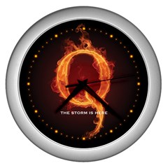 Qanon Letter Q Fire Effect The Storm Is Here Wwgowga Wwg1wga Wall Clock (silver)