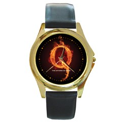 Qanon Letter Q Fire Effect The Storm Is Here Wwgowga Wwg1wga Round Gold Metal Watch by snek