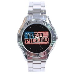 Qanon Grunge Red Pilled Woke With Usa Flag Wwgowga Wwg1wga Stainless Steel Analogue Watch by snek
