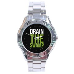 Drain The Swamp Maga Green And Gray Stainless Steel Analogue Watch