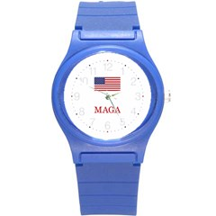Maga Make America Great Again With Us Flag Trump Round Plastic Sport Watch (s)