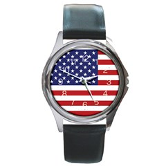 Usa Flag Round Metal Watch by snek