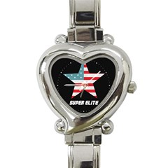 Super Elite Usa Flag In A Star Trump Maga Quote Heart Italian Charm Watch by snek