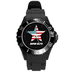 Super Elite Usa Flag In A Star Trump Maga Quote Round Plastic Sport Watch (l) by snek