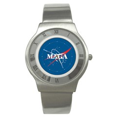 Maga Nasa Parody Logo Stainless Steel Watch by snek