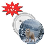 Wonderful Arctic Wolf In The Winter Landscape 1 75  Buttons (10 Pack) by FantasyWorld7