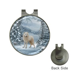 Wonderful Arctic Wolf In The Winter Landscape Hat Clips With Golf Markers by FantasyWorld7