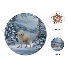 Wonderful Arctic Wolf In The Winter Landscape Playing Cards (round) by FantasyWorld7