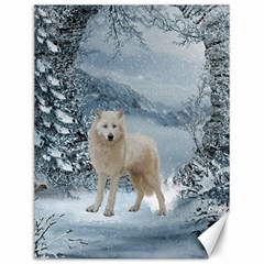 Wonderful Arctic Wolf In The Winter Landscape Canvas 12  X 16  by FantasyWorld7