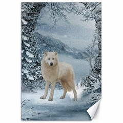 Wonderful Arctic Wolf In The Winter Landscape Canvas 20  X 30  by FantasyWorld7
