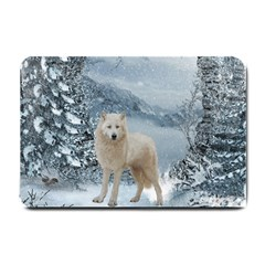 Wonderful Arctic Wolf In The Winter Landscape Small Doormat  by FantasyWorld7