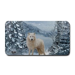 Wonderful Arctic Wolf In The Winter Landscape Medium Bar Mats by FantasyWorld7