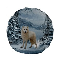 Wonderful Arctic Wolf In The Winter Landscape Standard 15  Premium Round Cushions by FantasyWorld7