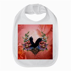 Wonderful Crow With Flowers On Red Vintage Dsign Bib