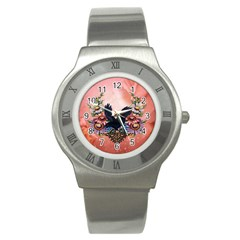 Wonderful Crow With Flowers On Red Vintage Dsign Stainless Steel Watch