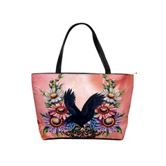 Wonderful Crow With Flowers On Red Vintage Dsign Classic Shoulder Handbag