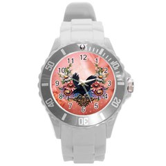 Wonderful Crow With Flowers On Red Vintage Dsign Round Plastic Sport Watch (l) by FantasyWorld7