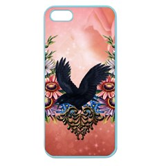 Wonderful Crow With Flowers On Red Vintage Dsign Apple Seamless Iphone 5 Case (color)