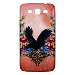 Wonderful Crow With Flowers On Red Vintage Dsign Samsung Galaxy Mega 5 8 I9152 Hardshell Case