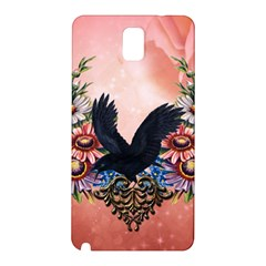 Wonderful Crow With Flowers On Red Vintage Dsign Samsung Galaxy Note 3 N9005 Hardshell Back Case