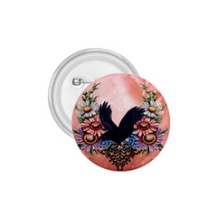 Wonderful Crow With Flowers On Red Vintage Dsign 1 75  Buttons