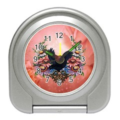 Wonderful Crow With Flowers On Red Vintage Dsign Travel Alarm Clock