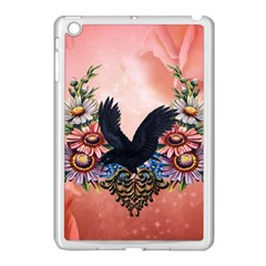 Wonderful Crow With Flowers On Red Vintage Dsign Apple Ipad Mini Case (white) by FantasyWorld7