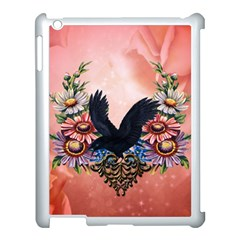 Wonderful Crow With Flowers On Red Vintage Dsign Apple Ipad 3/4 Case (white)