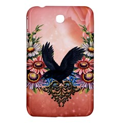 Wonderful Crow With Flowers On Red Vintage Dsign Samsung Galaxy Tab 3 (7 ) P3200 Hardshell Case  by FantasyWorld7