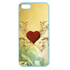 Wonderful Decorative Heart On Soft Vintage Background Apple Seamless Iphone 5 Case (color)