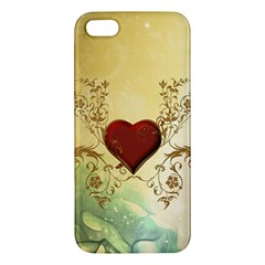 Wonderful Decorative Heart On Soft Vintage Background Iphone 5s/ Se Premium Hardshell Case