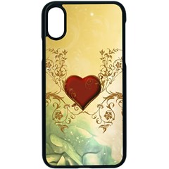 Wonderful Decorative Heart On Soft Vintage Background Apple Iphone X Seamless Case (black) by FantasyWorld7
