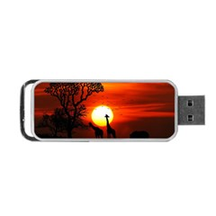 Animals Birds Dawn Giraffe Portable Usb Flash (one Side)
