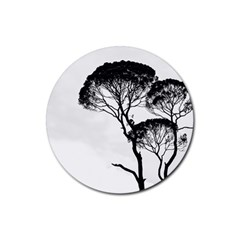 Silhouette Photo Of Trees Rubber Coaster (round)