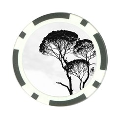 Silhouette Photo Of Trees Poker Chip Card Guard