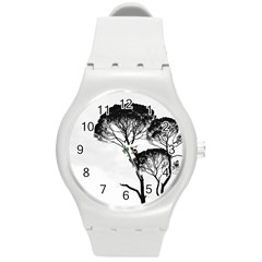 Silhouette Photo Of Trees Round Plastic Sport Watch (m)