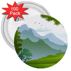 Forest Landscape Photography Illustration 3  Buttons (100 Pack)