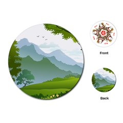Forest Landscape Photography Illustration Playing Cards (round)