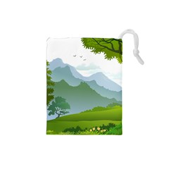 Forest Landscape Photography Illustration Drawstring Pouch (small)