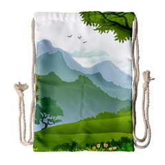 Forest Landscape Photography Illustration Drawstring Bag (large)