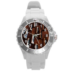 Abstract Architecture Building Business Round Plastic Sport Watch (l)