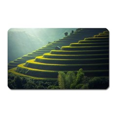 Scenic View Of Rice Paddy Magnet (rectangular)