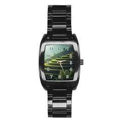 Scenic View Of Rice Paddy Stainless Steel Barrel Watch