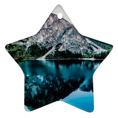 Daylight Forest Glossy Lake Ornament (star)