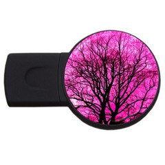 Pink Silhouette Tree Usb Flash Drive Round (2 Gb)