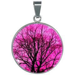 Pink Silhouette Tree 30mm Round Necklace