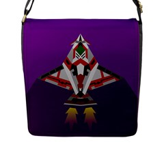 Toy Plane Outer Space Launching Flap Closure Messenger Bag (l)